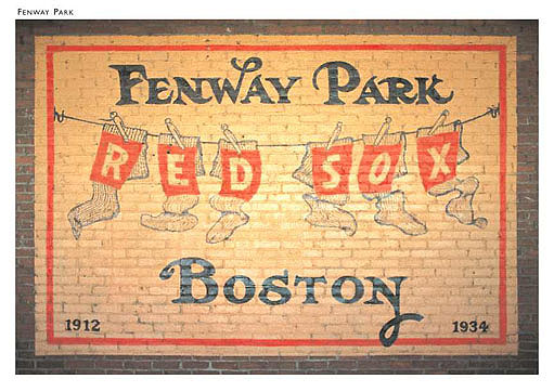 Fenway Park Mural, Left Field Box, Fenway Park, Boston Postcard